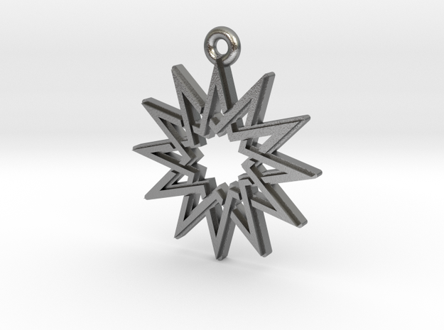 """Dodecagram 5.1"" Pendant, Cast Metal in Natural Silver"