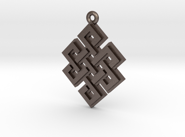 """Endless Knot"" Pendant, Printed Metal in Polished Bronzed Silver Steel"