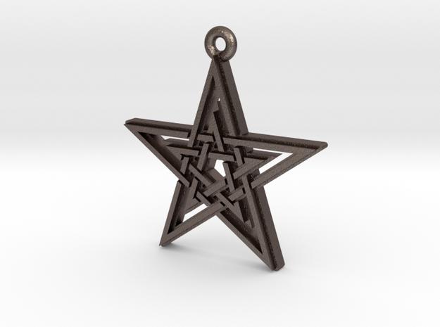 """Double Pentagram"" Pendant, Printed Metal in Polished Bronzed Silver Steel"
