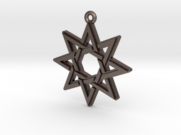 """Octagram 3.0"" Pendant, Printed Metal in Polished Bronzed Silver Steel"