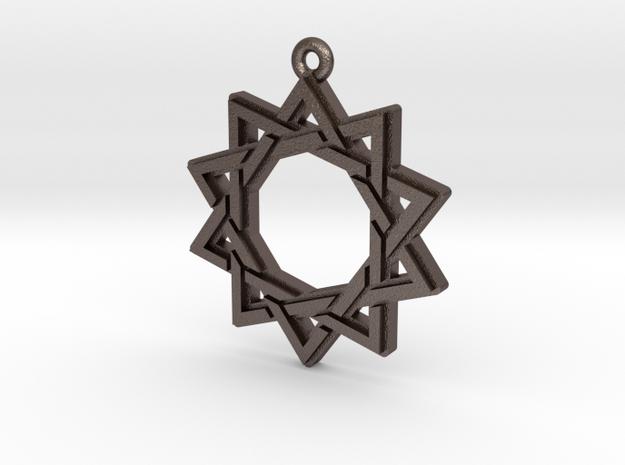 """""""Decagram 3.0"""" Pendant, Printed Metal in Polished Bronzed Silver Steel"""