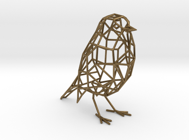 Bird wireframe (thicker wireframe) in Natural Bronze