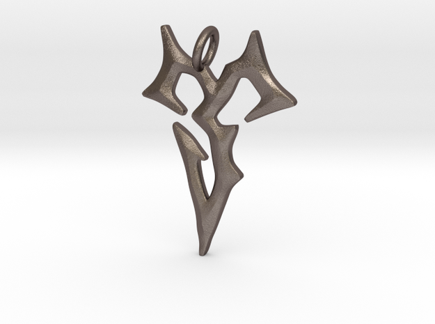 Final Fantasy Zanarkand Abes necklace / amulet 4cm in Polished Bronzed Silver Steel