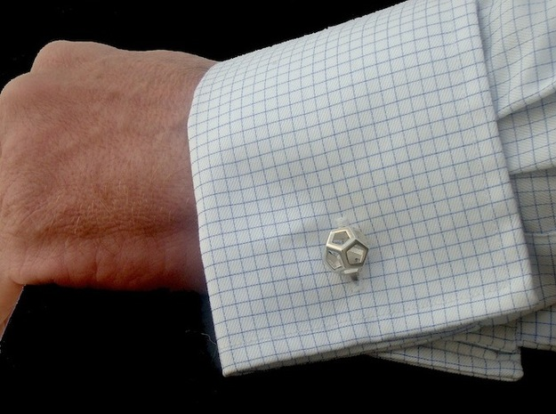 Dodecufflinks 3d printed Use (Front) [Polished Silver]