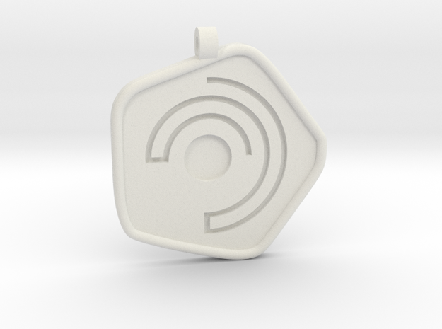 New Harmony Pendant | Round Borders in White Natural Versatile Plastic