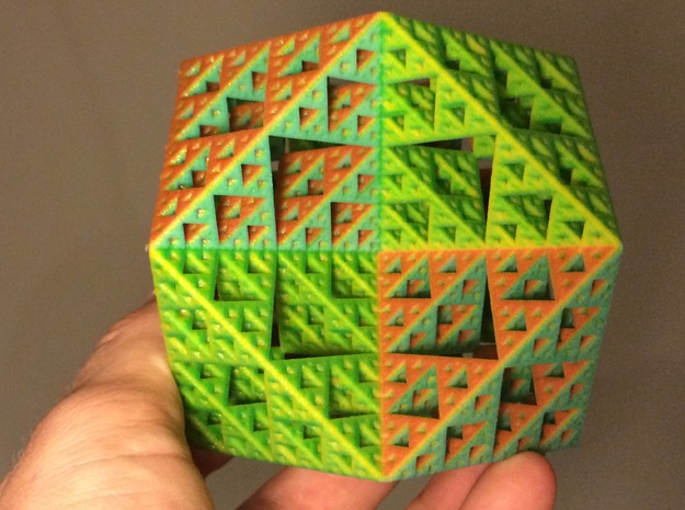 Sierpinski Cuboctahedron - large in Full Color Sandstone