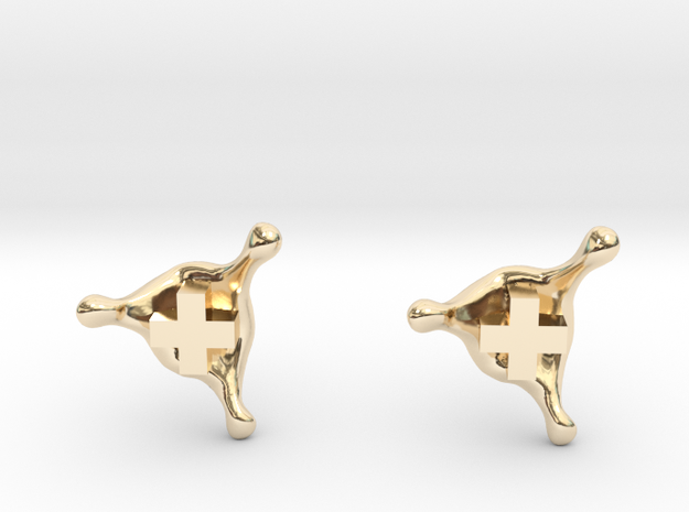 PositiveXSplash stud earrings in 14k Gold Plated Brass