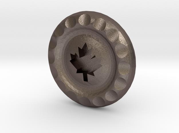 Golf Ball Marker Maple Leaf in Polished Bronzed Silver Steel