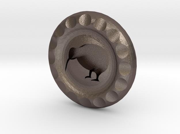Golf Ball Marker Kiwi in Polished Bronzed Silver Steel