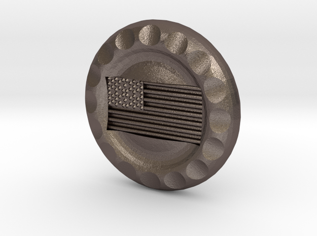 Golf Ball Marker USA Flag in Polished Bronzed Silver Steel
