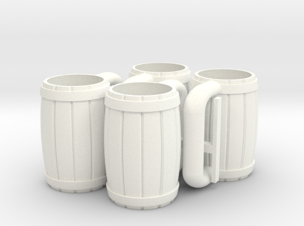 4 Mugs in White Processed Versatile Plastic