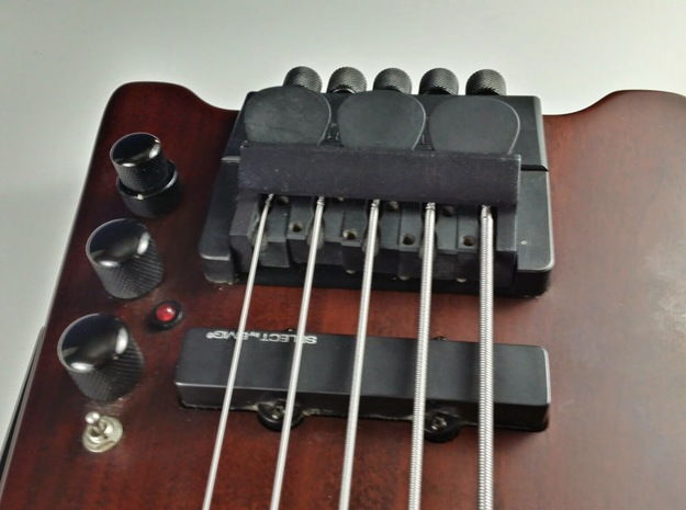 Bridge Pick Holder - Steinberger Bridge - Smooth 3d printed Bridge Pick Holder on a Hohner Steinberger-Licensed Bridge in Black Strong and Flexible Plastic