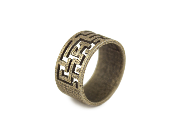 Maze Ring size US6 in Polished Bronzed Silver Steel