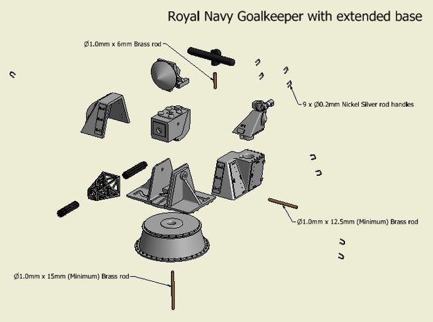 CIWS Goalkeeper kit,  Extended base x 2 - 1/96 3d printed
