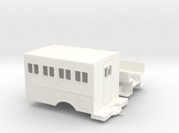 1/50th logging or fire crew transport 'Crummy' Bus in White Processed Versatile Plastic