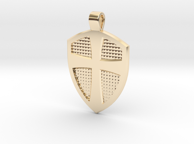 Cross & Shield pendant in 14k Gold Plated Brass