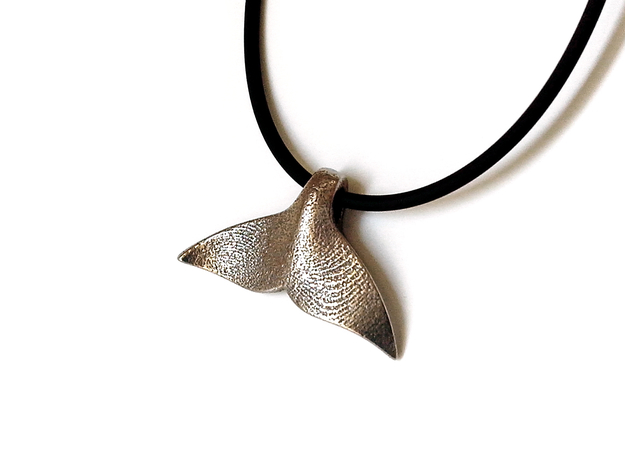 Whale Tail pendant in Polished Bronzed Silver Steel