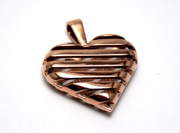 Striped heart pendant in 14k Rose Gold Plated