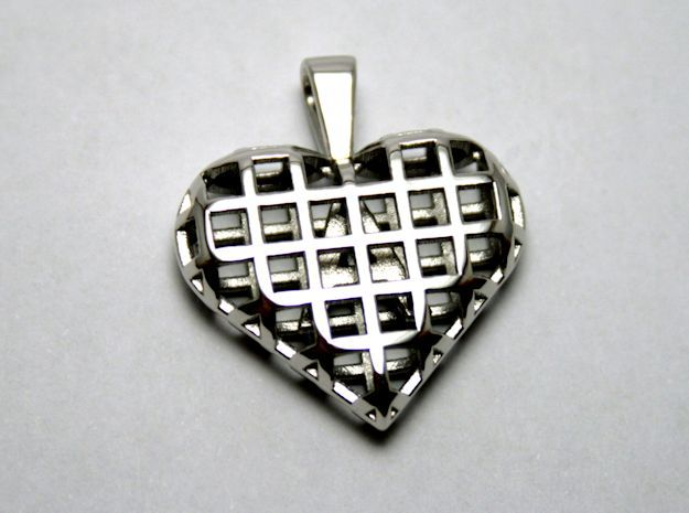 A letter in my heart [customizable] in Rhodium Plated