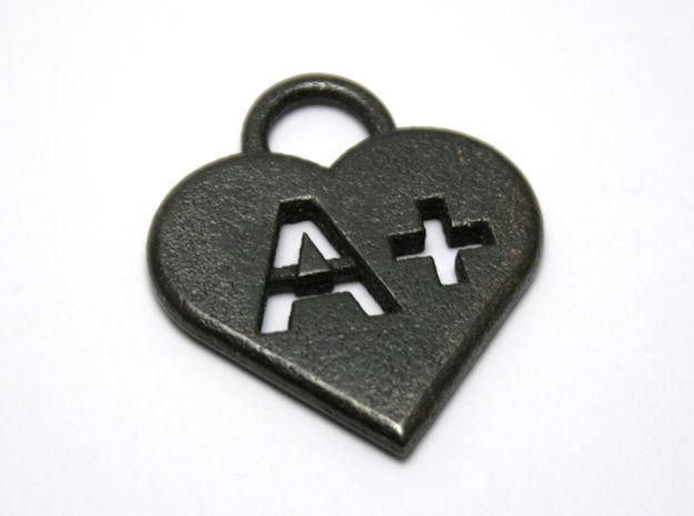 Blood type keychain [customizable] in Polished and Bronzed Black Steel
