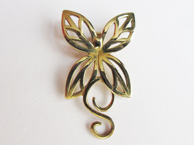 Leaves Butterfly Pendant in Polished Brass