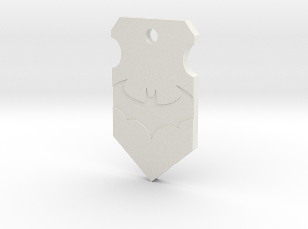 Caped Crusader Shield Pendant in White Strong & Flexible