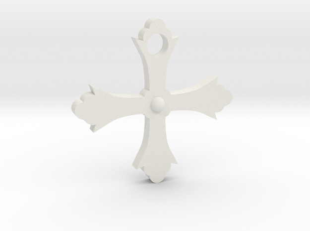 Crusader Cross in White Natural Versatile Plastic