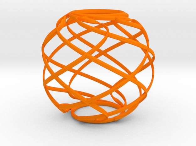 Ribbon Sphere in Orange Processed Versatile Plastic