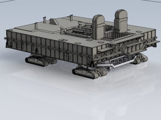1/400 Shuttle MLP, launch pad NASA 3d printed CAD render of MLP fitted onto Crawler.