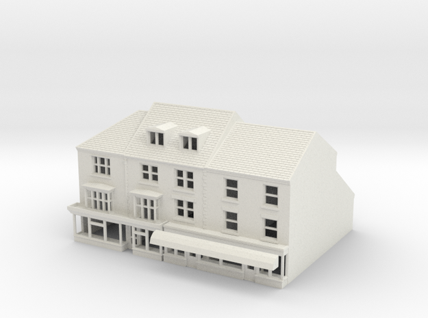 HHS-123 N Scale Honiton High street building 1:148 in White Strong & Flexible