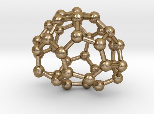 0087 Fullerene c38-6 c2  in Polished Gold Steel