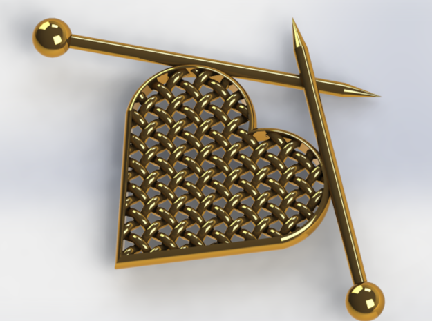 Woven Heart with Knitting Needles in 14k Gold Plated