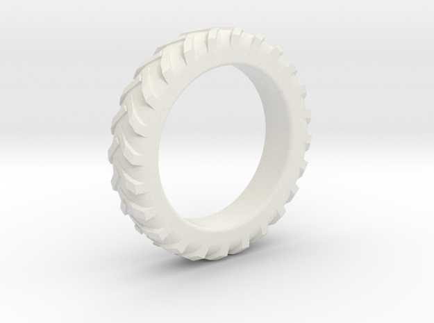 Tractor Tire Ring  in White Natural Versatile Plastic