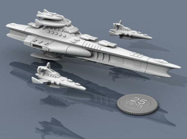Novus Regency Corvette 3d printed Corvettes and battleship in formation.