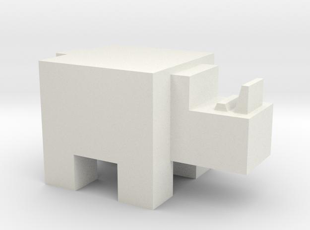 Cubicle Rhino in White Natural Versatile Plastic