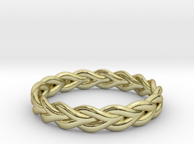 Ring of braided rope - size 5 in 18k Gold Plated Brass