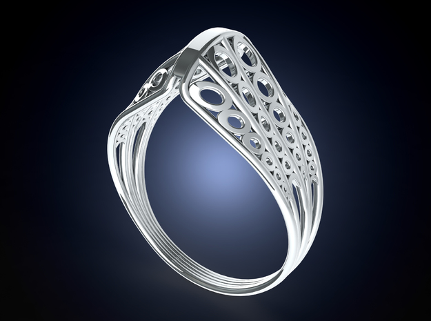 Knights Wire Ring - Sterling Silver 3d printed Render