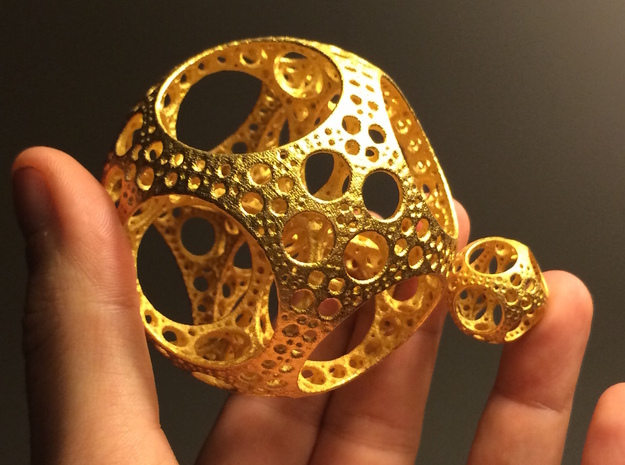 Apollonian Octahedron - Thick in Polished Gold Steel