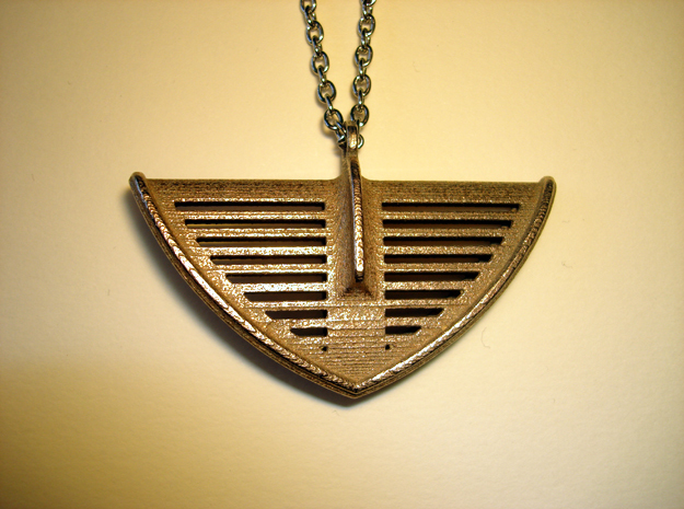 V21 Necklace Pendant in Polished Bronzed Silver Steel