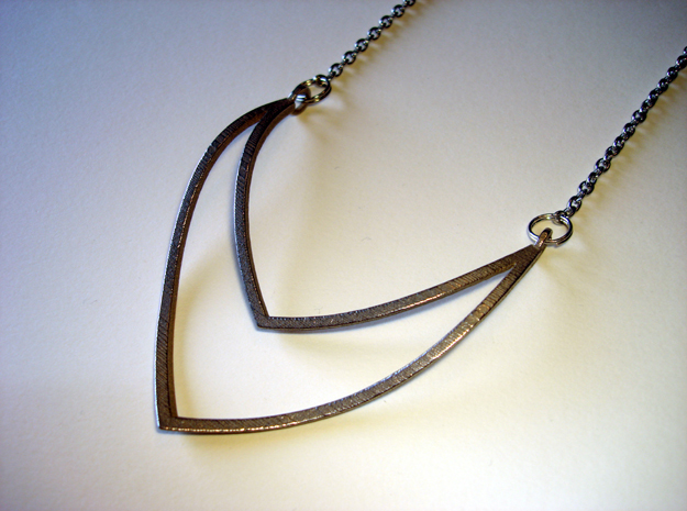 V 20 Necklace in Polished Bronzed Silver Steel