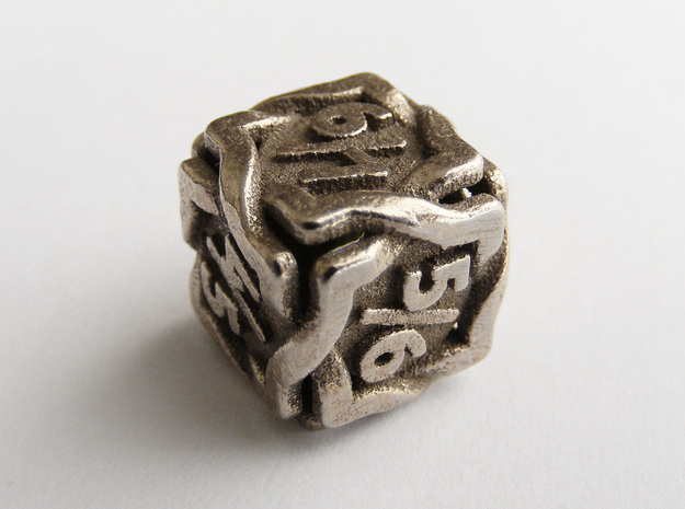 'Twined' Dice D6 Gaming Die Tarmogoyf P/T Version in Polished Bronzed Silver Steel