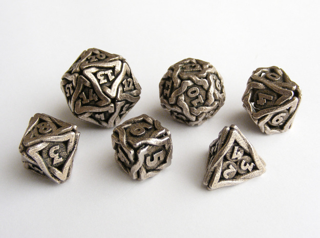 'Twined' Dice Gaming Die Set (6 dice) in Stainless Steel