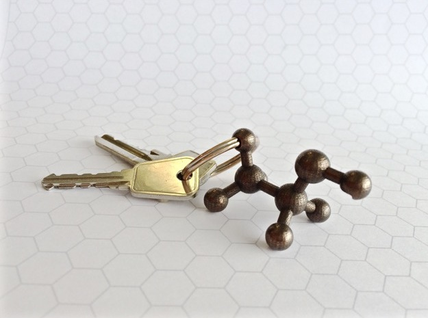 Ethanol Molecule Bottle Opener in Polished Bronze Steel