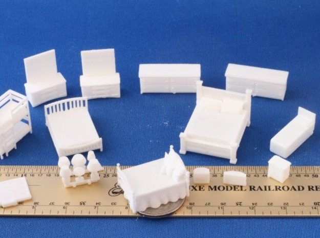 Bedroom HO Scale Expiremental Layout in White Natural Versatile Plastic