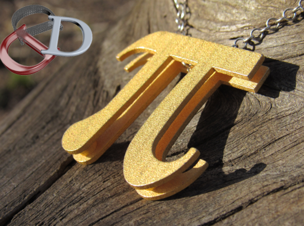 Pi Pendant  in Polished Bronzed Silver Steel