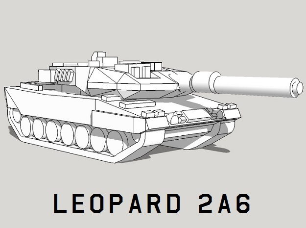 3mm Leopard 2A6 Tanks (24pcs) in White Acrylic