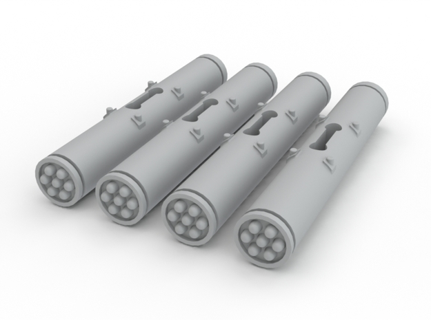 Dragonfy/Locust Small Rocket Pods (4) in White Processed Versatile Plastic
