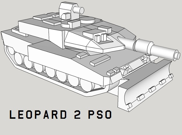 3mm Leopard 2 PSO Tanks (24pcs) in Smooth Fine Detail Plastic