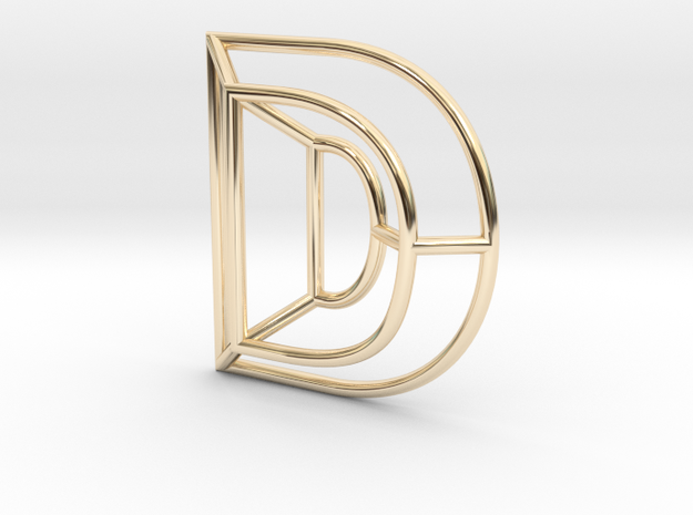 D Pendant in 14k Gold Plated Brass