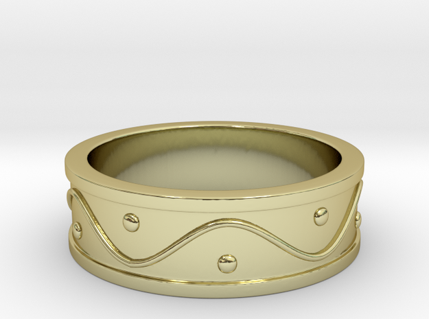 Ring Dots and Wave in 18k Gold Plated Brass